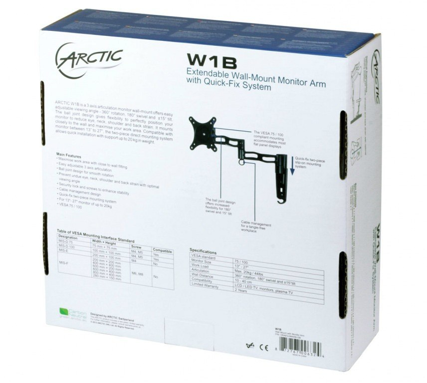 "Arctic W1B Black - naścienny uchwyt do monitora 13"" - 30"" z technologią Quick-Fix"
